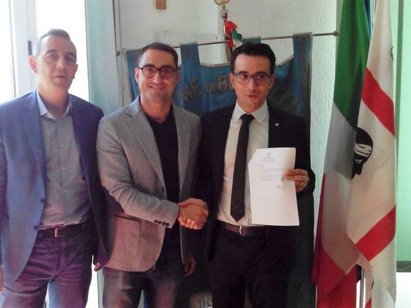 Il Consigliere Regionale Roberto Li Gioi, il Sindaco Andrea Nieddu, l'Assessore Regionale all'ambiente Gianni Lampis, foto Marco Marrosu